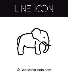 aislado, elefante indio, outline., trunked, animal, vector, elemento, lata, ser, utilizado, para, elefante, trunked, animal, diseño, concept.