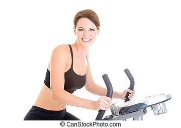 aislado, equitación, mujer, ejercicio, caucásico, bicicleta, esbelto