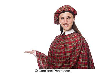 aislado, escocés, fondo blanco, mujer