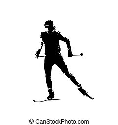 aislado, esquiador, esquí, vector, silueta, país, cruz