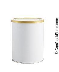aislado, estaño, blanco, lata