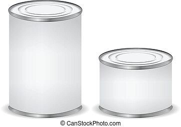aislado, estaño, blanco, latas