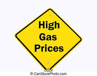 aislado, gas, signo amarillo, alto, advertencia, precios