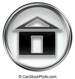 aislado, gris, plano de fondo, hogar, blanco, icono