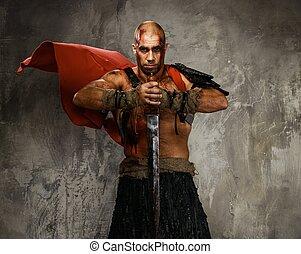 aislado, gris, sangre, espada, herido, cubierto, gladiator