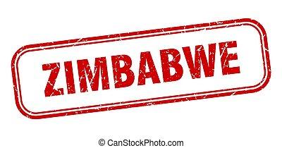 aislado, grunge, zimbabwe, rojo, señal, stamp.