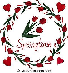 aislado, hermoso, guirnalda, con, tulipanes, y, corazones