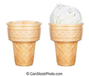 aislado, hielo, pala, sabroso, cono, crema