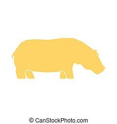 aislado, hipopótamo, blanco, amarillo