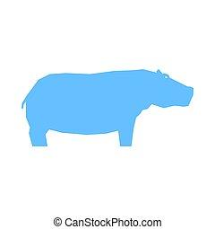 aislado, hipopótamo, blanco, azul