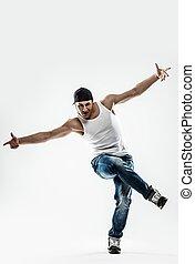 aislado, hombre, bailarín, actuación, break-dancing, se ...