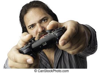 aislado, hombre, con, regulador video del juego