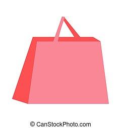 aislado, icono, bolsa de compras de papel