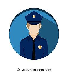 aislado, icono, mujer policía