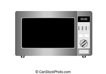 aislado, ilustración, fondo., horno de microonda, blanco