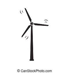 aislado, ilustración, fondo., vector, icon., blanco, turbina, viento