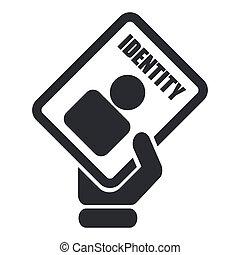 aislado, ilustración, solo, vector, documentode identidad, icono