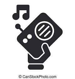 aislado, ilustración, solo, vector, radio, icono