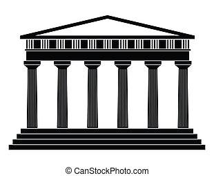aislado, ilustración, solo, vector, templo, icono