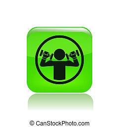 aislado, ilustración, solo, vector, weightlifting, icono