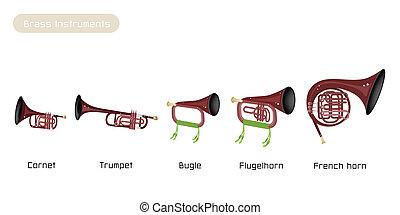 aislado, instrumento, cinco, plano de fondo, latón, blanco