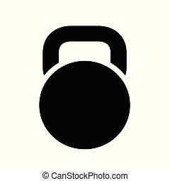aislado, kettlebell, fondo., negro, icono, blanco