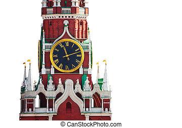 aislado, kremlin, reloj, vista, blanco, plano de fondo