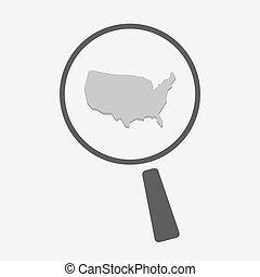 aislado, lupa, icono, con, un, mapa, de, el, estados unidos de américa