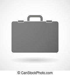 aislado, maletín, icono
