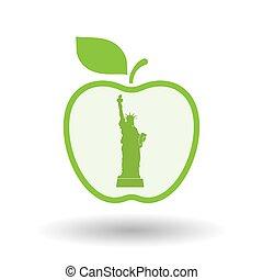 aislado, manzana, con, la estatua de la libertad