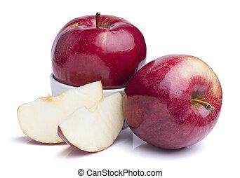 aislado, manzanas, plano de fondo, recorte, rojo blanco