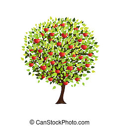 aislado, manzano, para, su, diseño