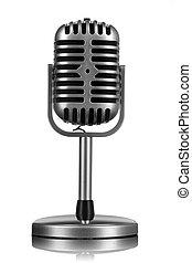 aislado, micrófono, blanco, retro