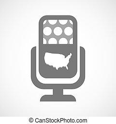 aislado, micrófono, icono, con, un, mapa, de, el, estados unidos de américa
