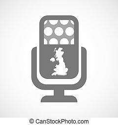 aislado, micrófono, icono, con, un, mapa, de, el, reino unido