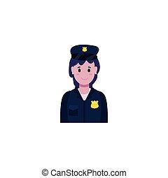 aislado, mujer policía, vector, diseño, avatar