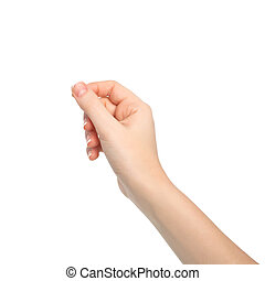 aislado, mujer, tenencia de la mano, un, objeto