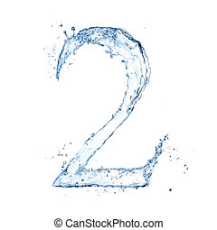 "aislado, número, agua, salpicaduras, plano de fondo, blanco, ""2"""