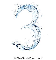 "aislado, número, agua, salpicaduras, plano de fondo, blanco, ""3"""