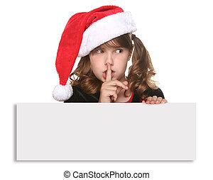 aislado, navidad, niño, tenencia, señal, blanco
