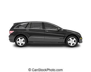 aislado, negro, coche, vista lateral