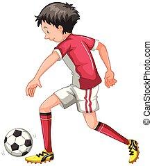 aislado, niño, futbol, juego, joven