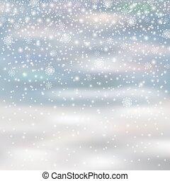 aislado, nieve, decoración, plano de fondo, blured, caer, navidad