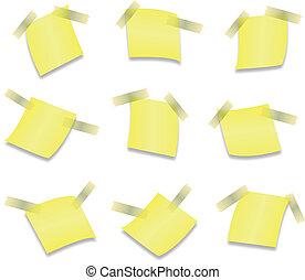 aislado, nota amarilla, palo, plano de fondo, blanco