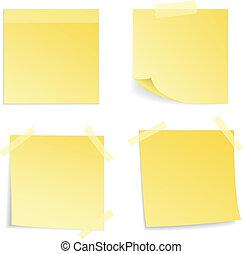 aislado, nota amarilla, vector, palo, illustrat