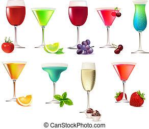 aislado, nueve, plano de fondo, fiesta, blanco, bebidas