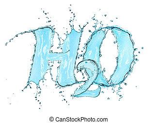 aislado, o, agua, h2o, salpicadura, fórmula