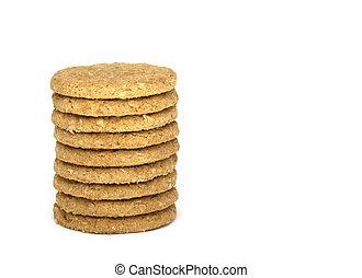 aislado, oaty, nueve, blanco, galletas, pila