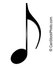 aislado, octava nota, plano de fondo, blanco, musical