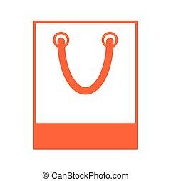 aislado, papel, icono, bolso de compras